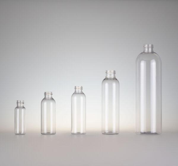 Flasche Tall Boston PET klar rund zylindrisch