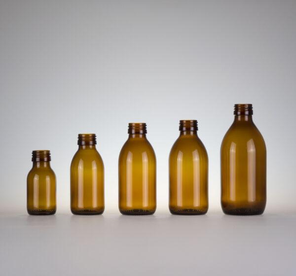 Sirupflasche Braunglas