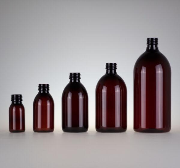 Sirup Flasche PET braun rund zylindrisch